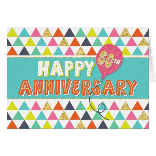 Employee Anniversary 50 Years - Colourful Pattern Card