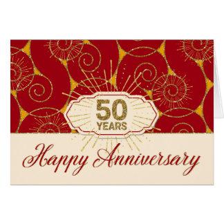 Employee Anniversary 50 Years - Red Swirls Greeting Card