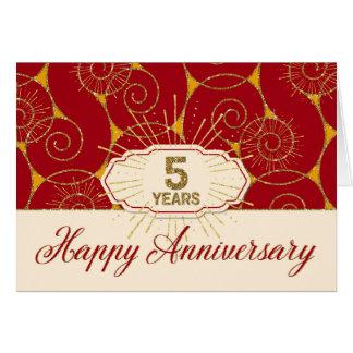 Employee Anniversary 5 Years - Red Swirls Greeting Card