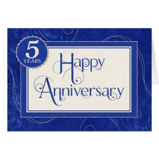 Employee Anniversary 5 Years - Text Swirls Blue Greeting Card