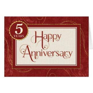 Employee Anniversary 5 Years - Text Swirls Damask Greeting Card