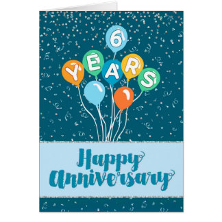 Employee Anniversary 6 Years - Balloons Confetti Greeting Card