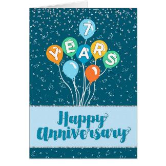 Employee Anniversary 7 Years - Balloons Confetti Greeting Card