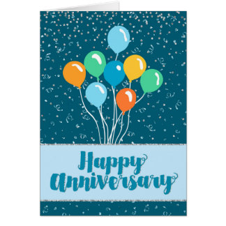 Employee Anniversary - Balloons and Confetti Greeting Card