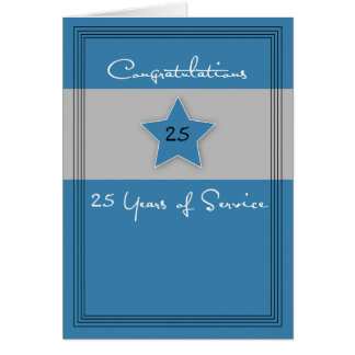 Employee Anniversary Blue and Gray, 25 Years Card