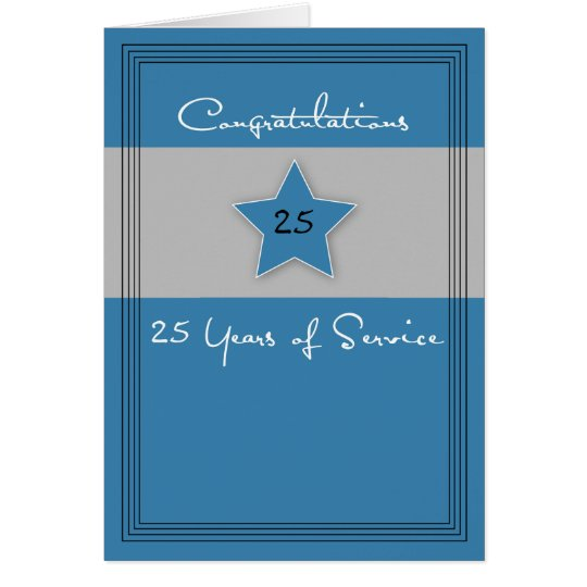 Employee Anniversary Blue and Grey, 25 Years Card
