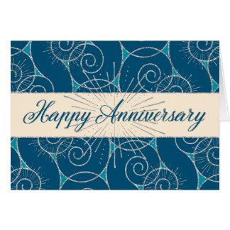 Employee Anniversary - Blue Swirls Greeting Card