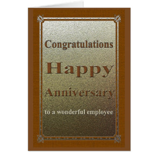 Employee Anniversary Card Elegant Brown