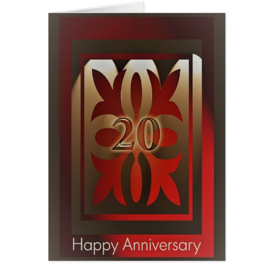Employee Anniversary Cards 20 Years Red and Gold