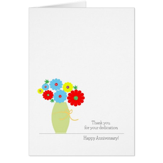 Employee Anniversary Cards, Cute Colourful Flowers Card