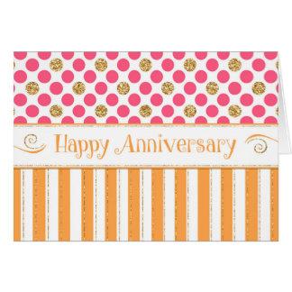 Employee Anniversary - Orange Pink Greeting Card