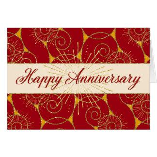 Employee Anniversary - Red Swirls Greeting Card