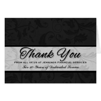 Employee Appreciation Custom Black Damask Card