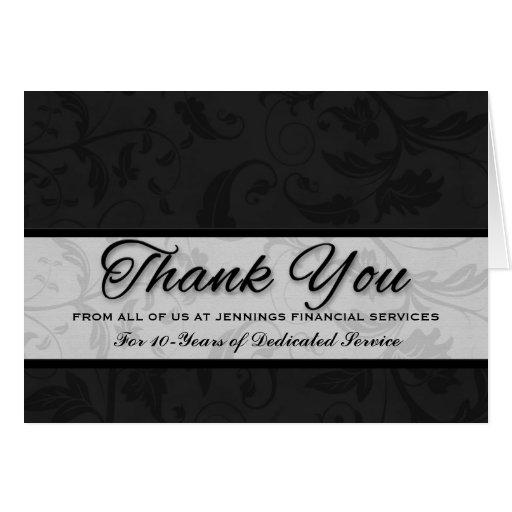 Employee Appreciation Custom Black Damask Cards