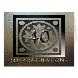 Employee BIG 40th Anniversary Elegant Golden Big Greeting Card