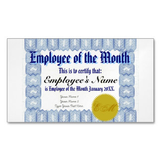 Employee of the Month Certificate Magnetic Business Cards