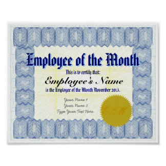 Employee of the Month Certificate Print