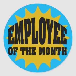 Employee of the Month gold and blue Classic Round Sticker