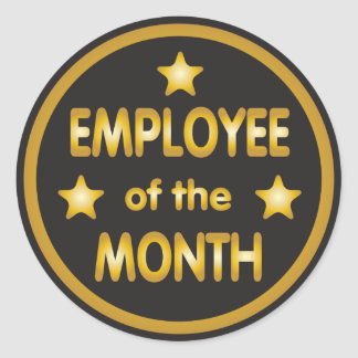 Employee of the Month Gold Round Sticker