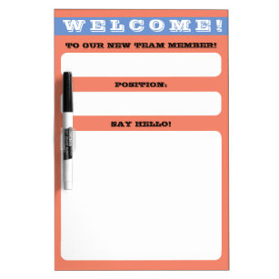 Employee onboarding welcome message display dry erase board