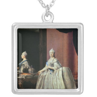 Empress Catherine II before the mirror, 1779 Silver Plated Necklace