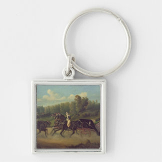 Empress Eugenie  and Queen Victoria  in the Silver-Colored Square Key Ring