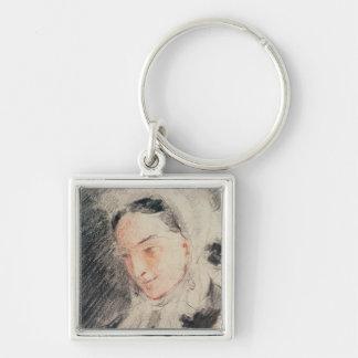 Empress Eugénie (black & red chalk) Silver-Colored Square Key Ring