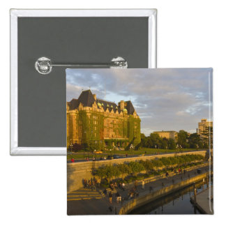 Empress Hotel and Inner Harbour waterfront, 15 Cm Square Badge