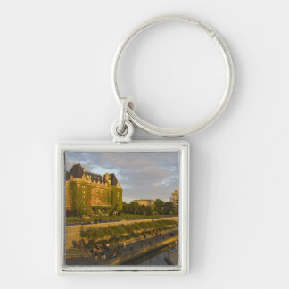 Empress Hotel and Inner Harbour waterfront, Silver-Colored Square Key Ring