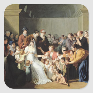 Empress Josephine  Among the Children, 1806 Square Sticker