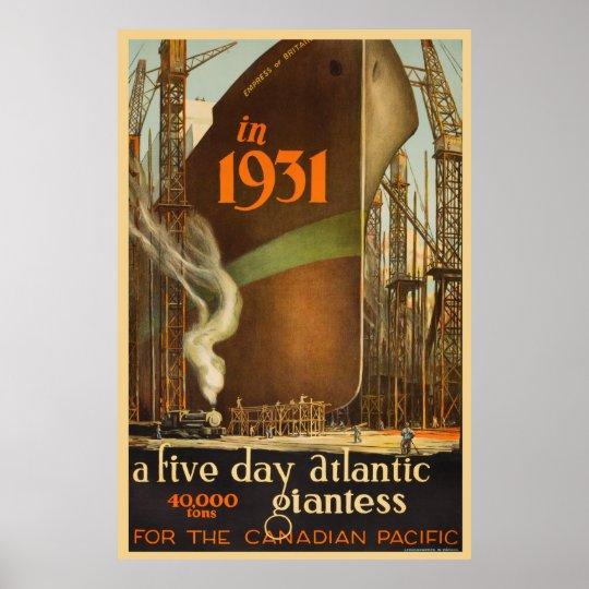 Empress of Britain 1931 - Vintage Travel Poster