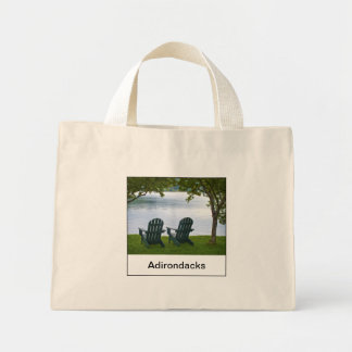 Empty Adirondack Chairs facing a Lake in NY, USA Mini Tote Bag