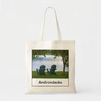 Empty Adirondack Chairs facing a Lake in NY, USA Tote Bag