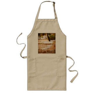 Empty bank in autumn long apron