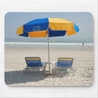 empty beach chairs mouse mat
