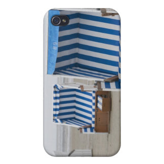 empty beach chairs on beach iPhone 4 cover