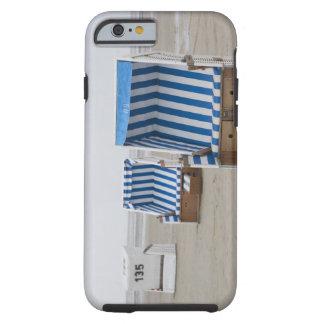 empty beach chairs on beach tough iPhone 6 case
