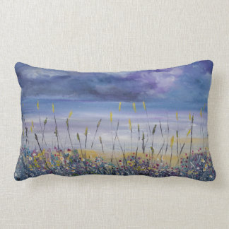 Empty beach, seascape nautical pillow