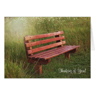 Empty Bench in Wildflowers-thinking of you Greeting Card
