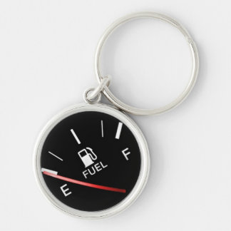 Empty Black Fuel Gas Gauge Silver-Colored Round Key Ring