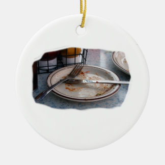 Empty Eaten Plate Fork Knife Food Foodie Design Christmas Ornament