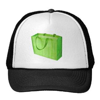 Empty green reusable shopping bag hat