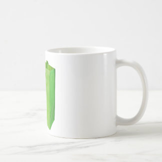 Empty green reusable shopping bag coffee mugs
