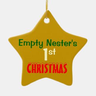 Empty Nest 1st Christmas Gold Star 2 Ceramic Star Decoration