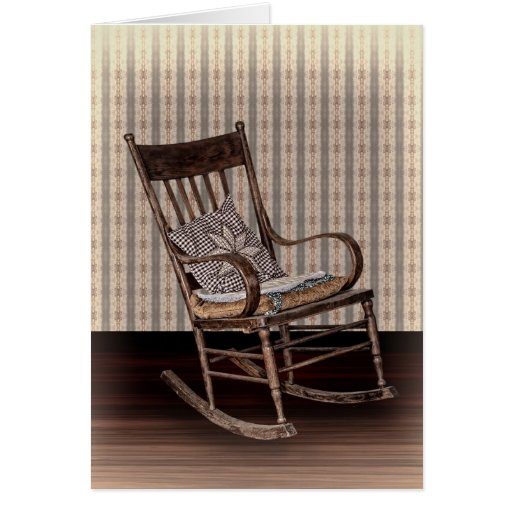 Empty Old Vintage Rocking Chair Card