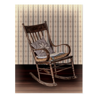 Empty Old Vintage Rocking Chair Post Card