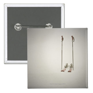 Empty Skis and Poles 15 Cm Square Badge
