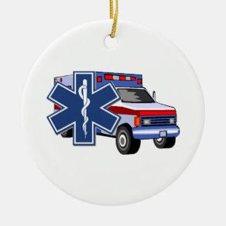 EMS Ambulance Round Ceramic Decoration