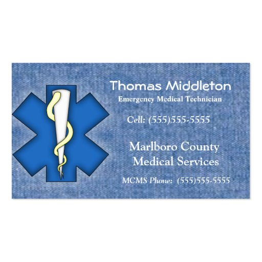 EMS / EMT Contact Card Business Card Template