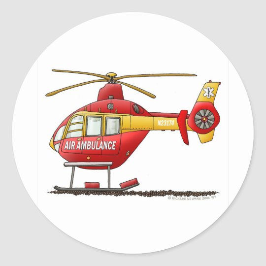 EMS EMT Rescue Medical Helicopter Ambulance Classic Round